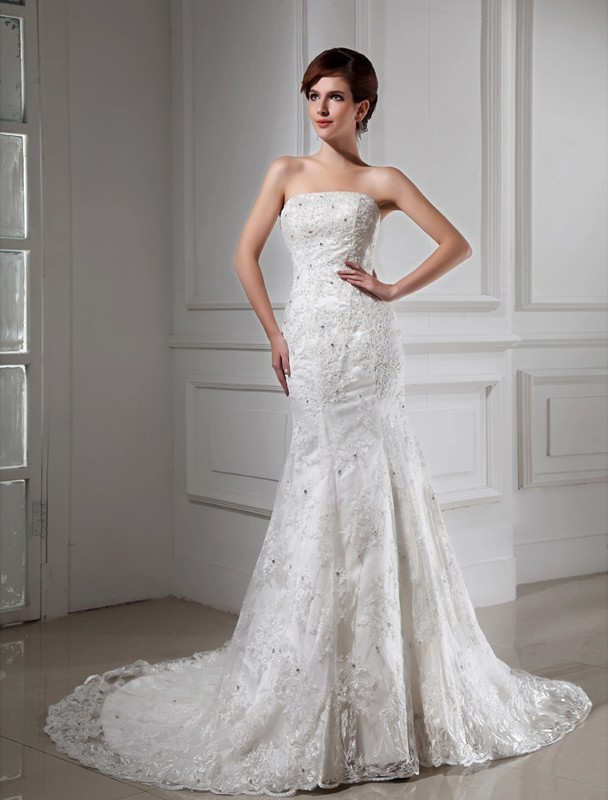 Trumpet Mermaid Beading Strapless Sleeveless Lace Satin Wedding Dresses