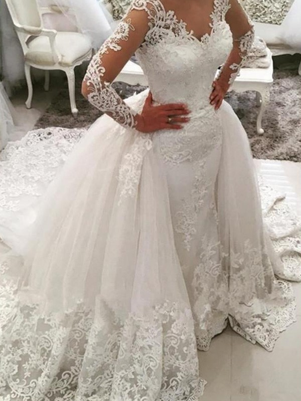 f344b035e12 Ball Gown V-neck Long Sleeves Cathedral Train Applique Lace Tulle Wedding  Dress