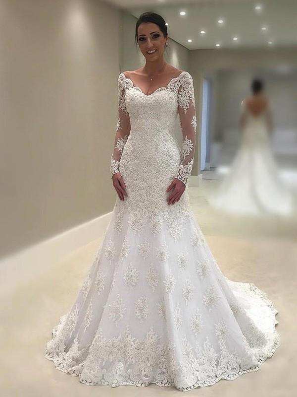 d4b720feb26 Trumpet Mermaid Long Sleeves V-neck Court Train Applique Lace Wedding Dress