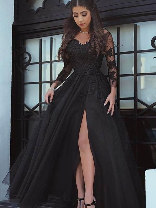 ed9f52b8a Ball Gown Long Sleeves Off-the-Shoulder Sweep/Brush Train Lace ...