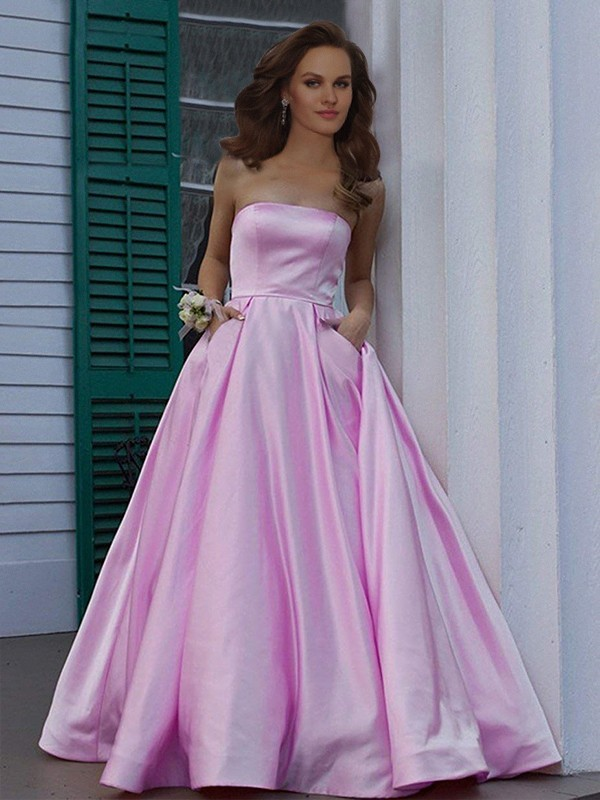 e68050a7b0a A-Line Princess Strapless Sleeveless Floor-Length Ruffles Dresses with Satin