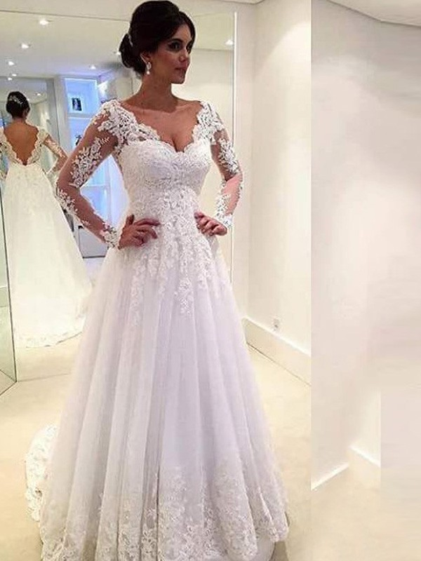 9aa5d0485c42 Ball Gown V-neck Long Sleeves Lace Sweep/Brush Train Tulle Wedding Dresses