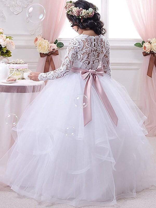 34900e96073d Ball Gown Jewel Long Sleeves Lace Floor-Length Tulle Flower Girl Dresses