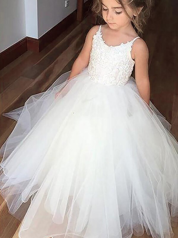 c0ca8d00aac Ball Gown Jewel Sleeveless Lace Floor-Length Tulle Flower Girl Dresses