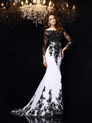 Sheath/Column Scoop Lace Long Sleeves Chiffon Sweep/Brush Train Dresses