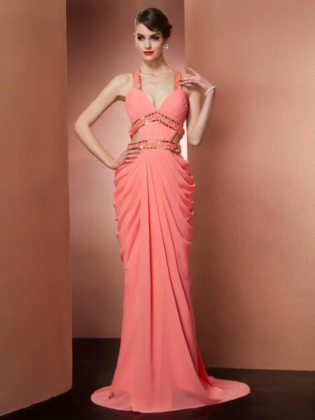 A-Line/Princess Halter Beading Dress with Chiffon