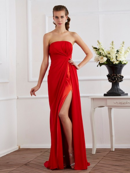 Sheath/Column Strapless Pleats Dress with Chiffon