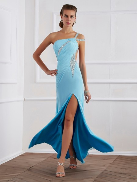 A-Line/Princess Beading One-Shoulder Dress with Long Chiffon