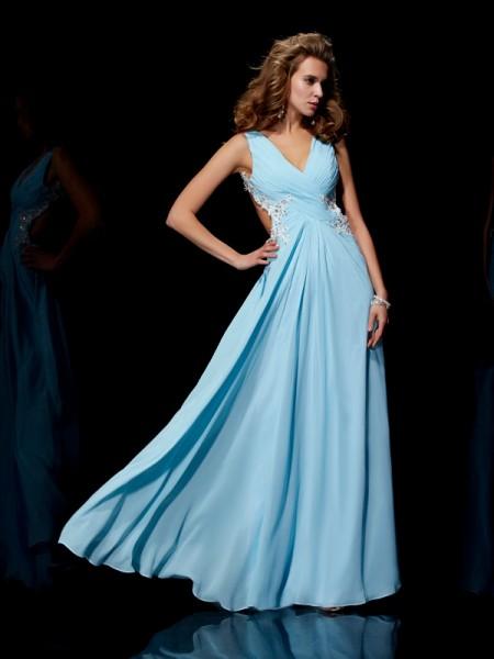A-Line/Princess Straps Applique Beading Dress with Long Chiffon