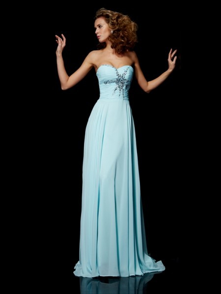 Sheath/Column Beading Sweetheart Dress with Long Chiffon