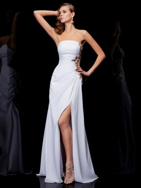 Sheath/Column Strapless Ruffles Dress with Long Chiffon