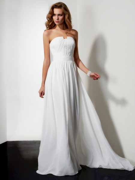 A-Line/Princess Strapless Sleeveless Pleats Ruffles Sweep/Brush Train Chiffon Dresses