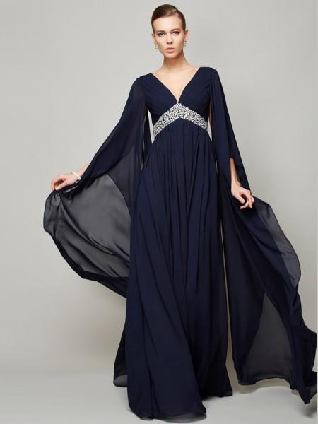 A-Line/Princess V-neck Long Sleeves Beading Dress with Long Chiffon