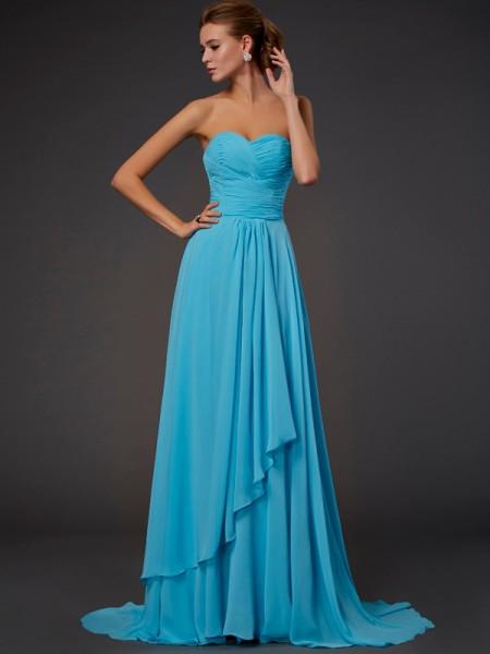 A-Line/Princess Sweetheart Pleats Dress with Long Chiffon