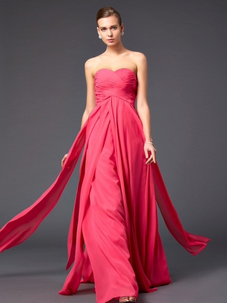 Sheath/Column Sweetheart Ruffles Dress with Long Chiffon
