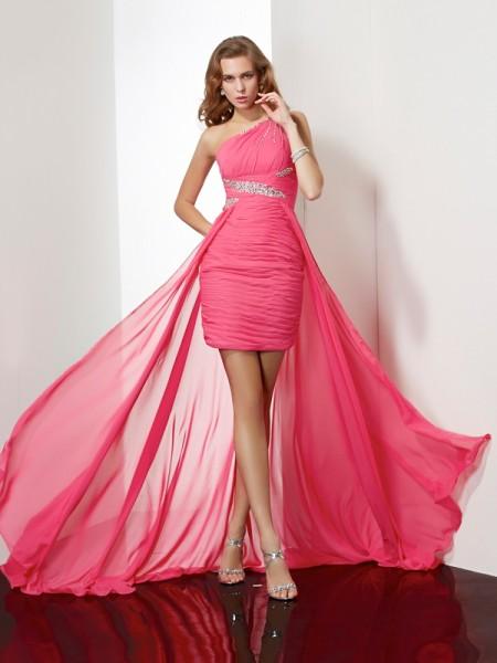 Sheath/Column One-Shoulder Beading Short Chiffon Homecoming Dress