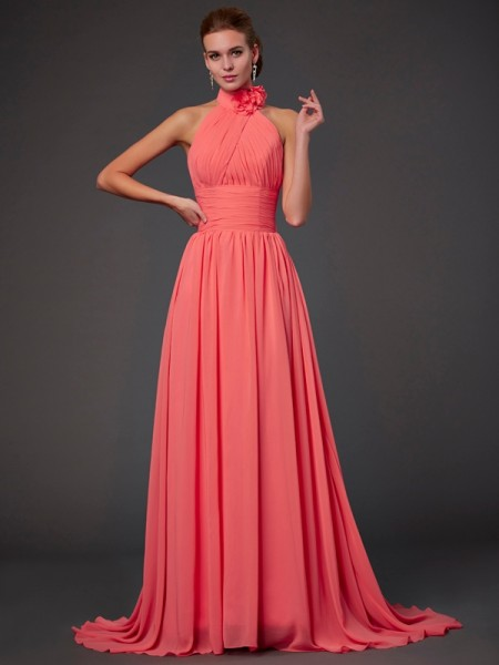 A-Line/Princess Halter Bridesmaid Dress with Long Chiffon