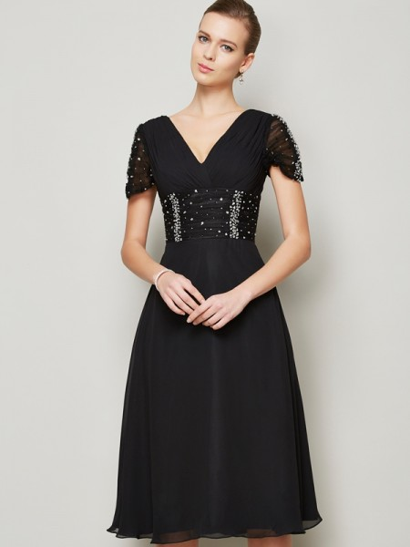 A-Line/Princess V-neck Short Sleeves Ruffles Short Chiffon Homecoming Dress
