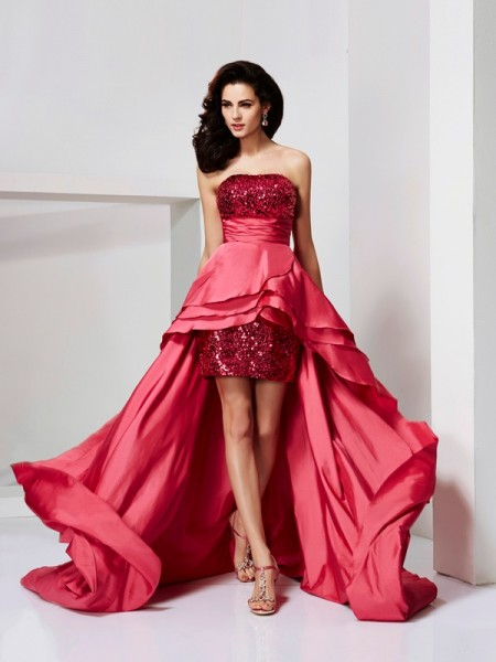 A-Line/Princess Strapless Lace High Low Taffeta Dress