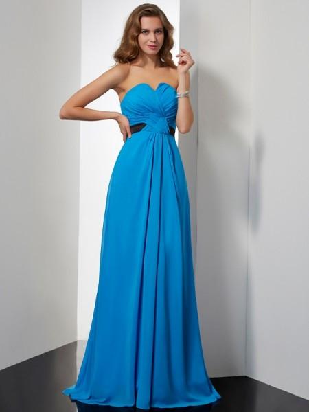 A-Line/Princess Sweetheart Sash/Ribbon/Belt Dress with Long Chiffon