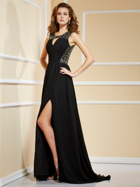A-Line/Princess High Neck Lace Dress with Long Chiffon
