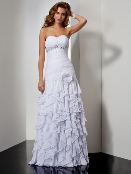 A-Line/Princess Sweetheart Beading Ruffles Dress with Long Chiffon