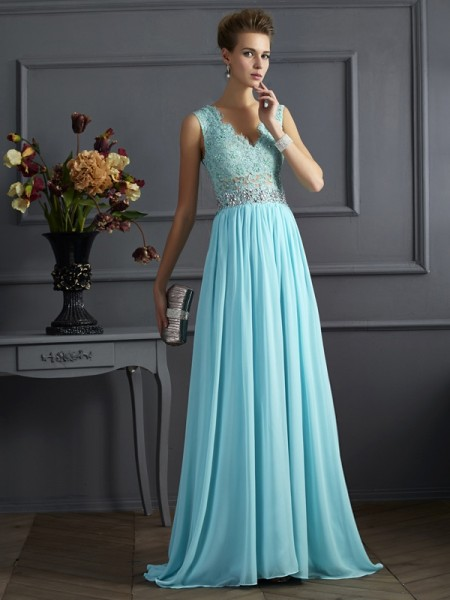 A-Line/Princess Straps Beading Lace Dress with Long Chiffon