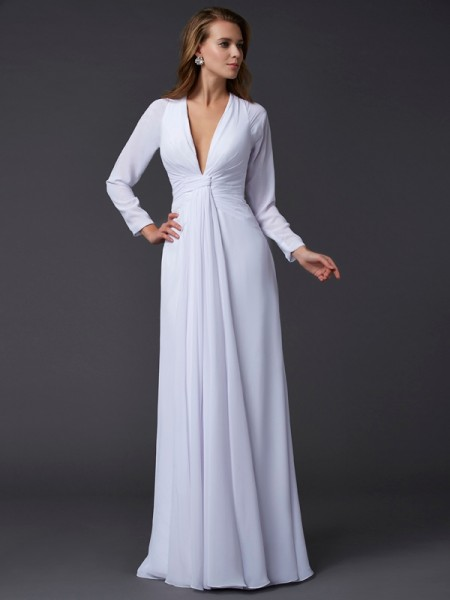 Sheath/Column V-neck Long Sleeves Ruched Dress with Long Chiffon