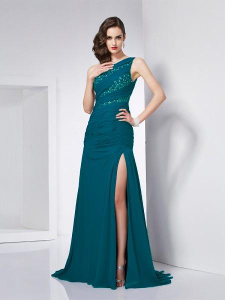 A-Line/Princess One-Shoulder Beading Dress with Long Chiffon