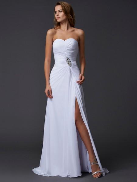 A-Line/Princess Sweetheart Long Sleeves Beading Dress with Long Chiffon