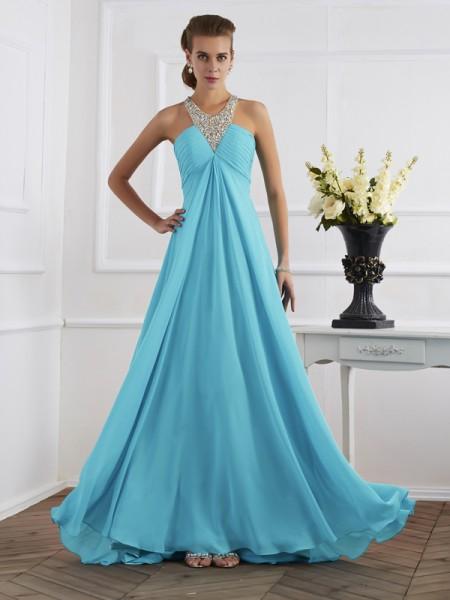 Empire Halter Beading Dress with Long Chiffon