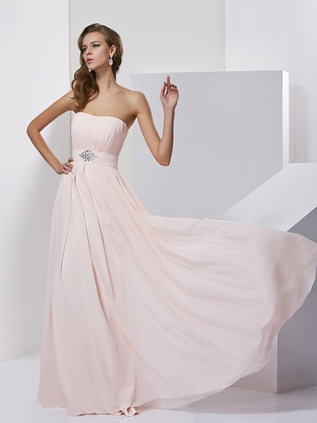 A-Line/Princess Strapless Dress with Long Chiffon