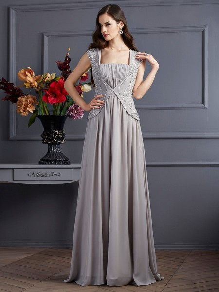 A-Line/Princess Square Beading Dress with Long Chiffon