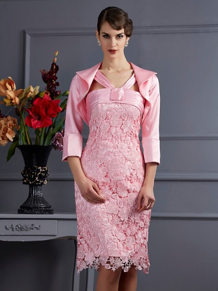 Sheath/Column Halter Lace Short Elastic Woven Satin Mother of the Bride Dress