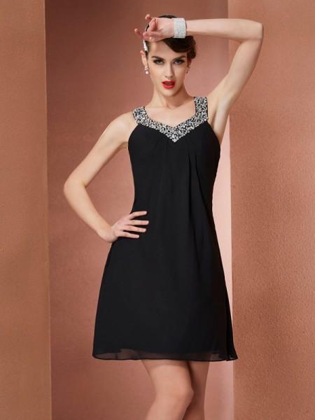A-Line/Princess Scoop Beading Short Chiffon Homecoming Dress