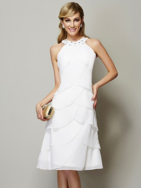 Sheath/Column Bateau Beading Short Chiffon Bridesmaid Dress