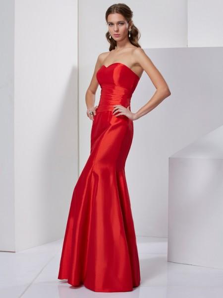 Trumpet/Mermaid Sweetheart Pleats Long Taffeta Dress