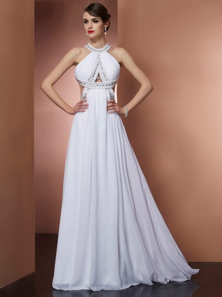 A-Line/Princess Bateau Beading Dress with Long Chiffon