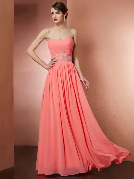 A-Line/Princess Strapless Pleats Beading Dress with Long Chiffon