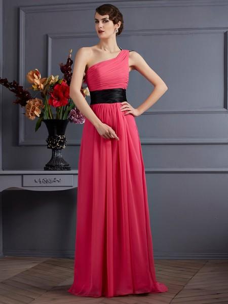 A-Line/Princess One-Shoulder Pleats Dress with Long Chiffon