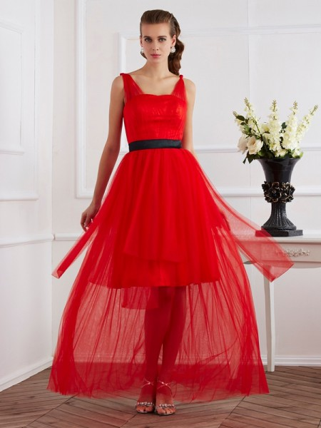 A-Line/Princess Straps Pleats Long Elastic Woven Satin Dress