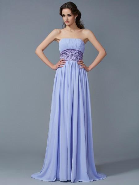 A-Line/Princess Strapless Beading Dress with Long Chiffon
