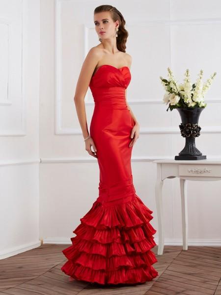 Trumpet/Mermaid Sweetheart Ruffles Long Taffeta Dress