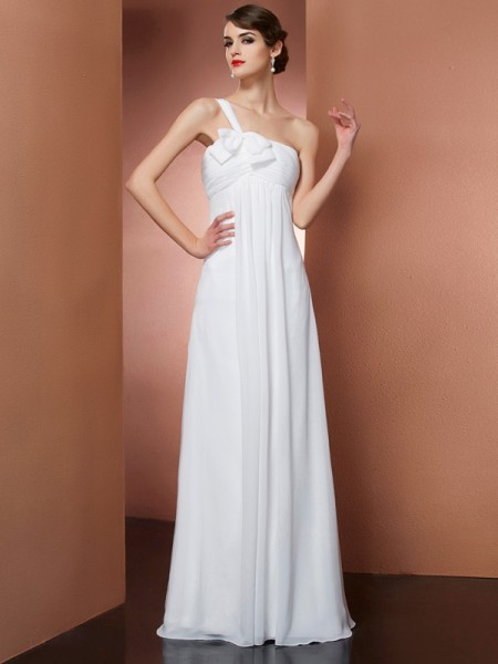 A-Line/Princess One-Shoulder Bowknot Dress with Long Chiffon