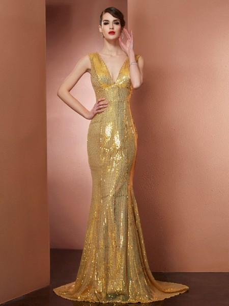 A-Line/Princess V-neck Lace Long Satin Dress