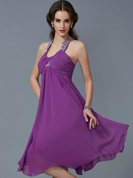 A-Line/Princess Halter Beading Short Chiffon Dress