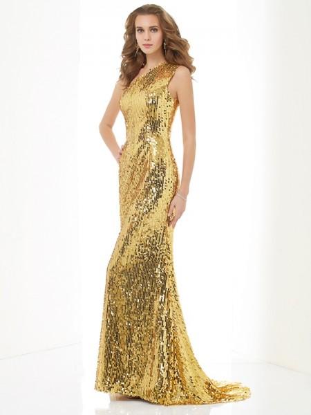 Sheath/Column One-Shoulder Lace Long Lace Dress