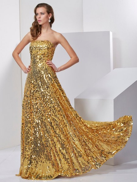 A-Line/Princess Strapless Sash/Ribbon/Belt Long Satin Dress