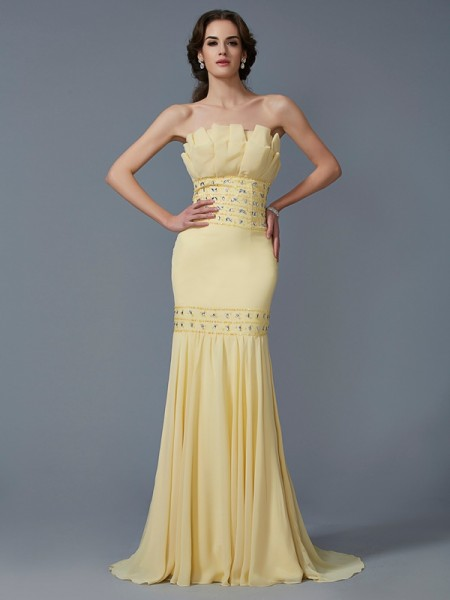 Trumpet/Mermaid Strapless Beading Dress with Long Chiffon