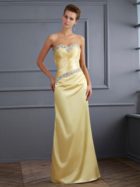 Trumpet/Mermaid Sweetheart Beading Long Elastic Woven Satin Dress